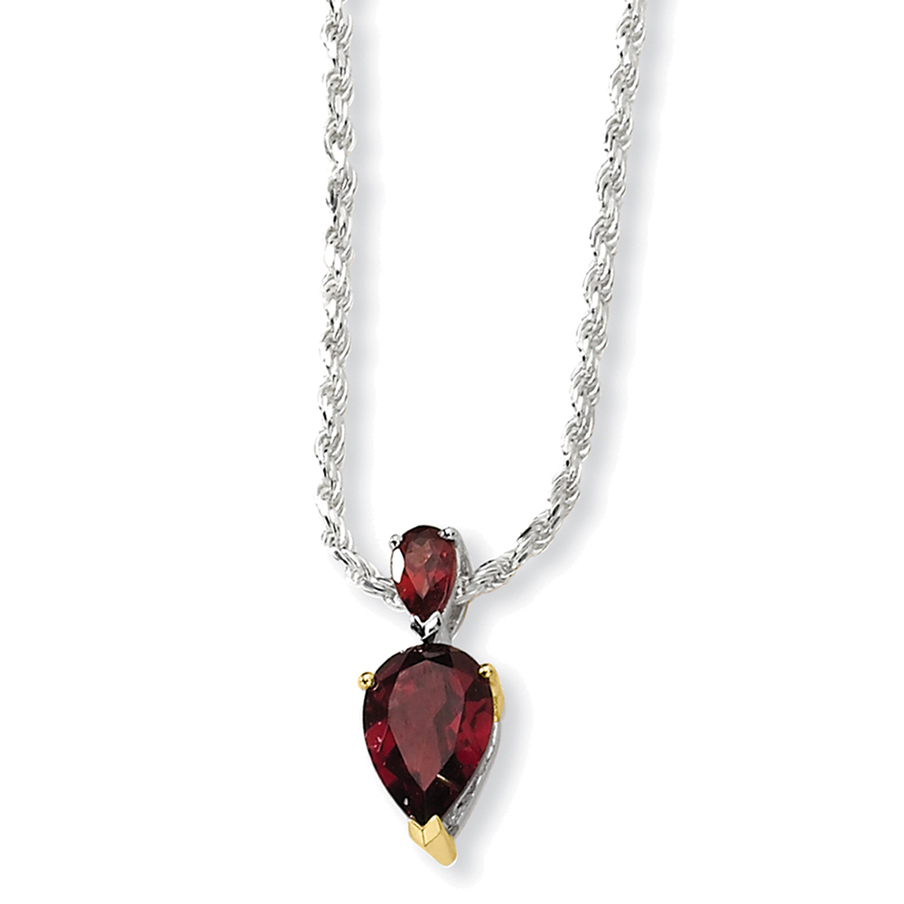 Sterling Silver & 14K Garnet Necklace QG2729-18 by