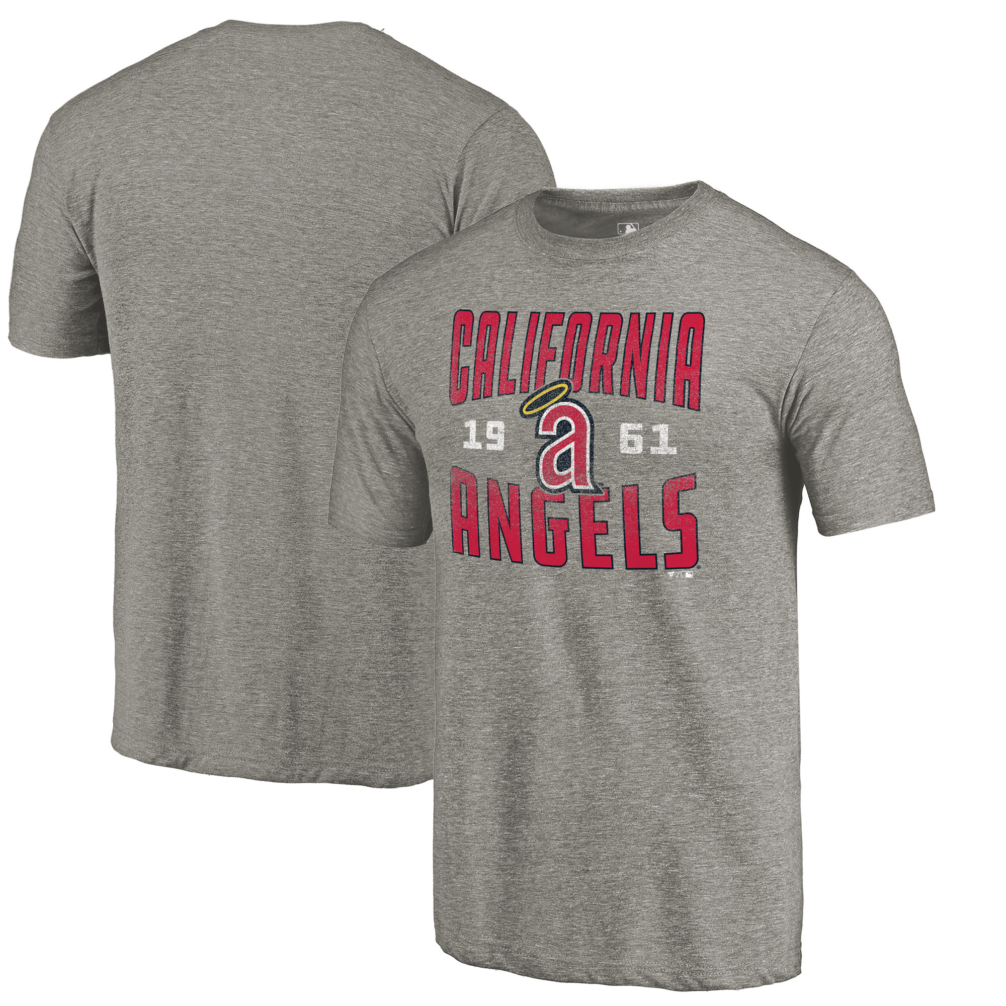 California Angels Fanatics Branded Cooperstown Collection Vintage Antique Stack Tri-Blend T-Shirt - Gray