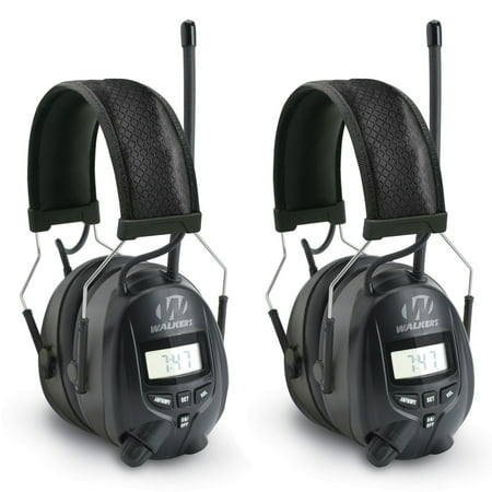 Walkers Hearing Protection Over Ear AM/FM Radio Earmuffs, 2 Pack |