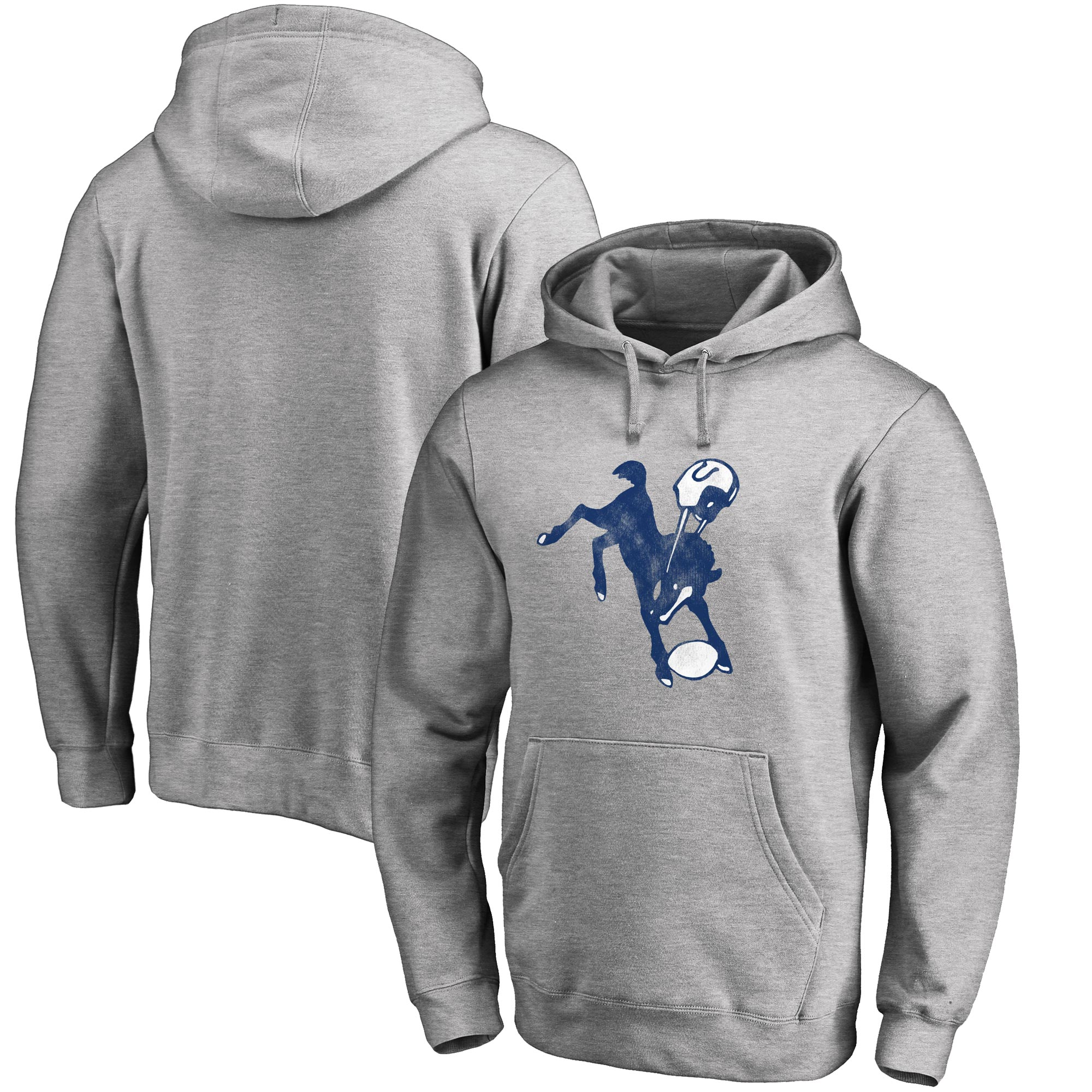 Indianapolis Colts NFL Pro Line Throwback Logo Pullover Hoodie - Gray