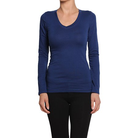 Solid Stretch Jersey - TheMogan Junior's Basic Plain Solid V-Neck Long Sleeve Stretch Cotton Jersey Tee