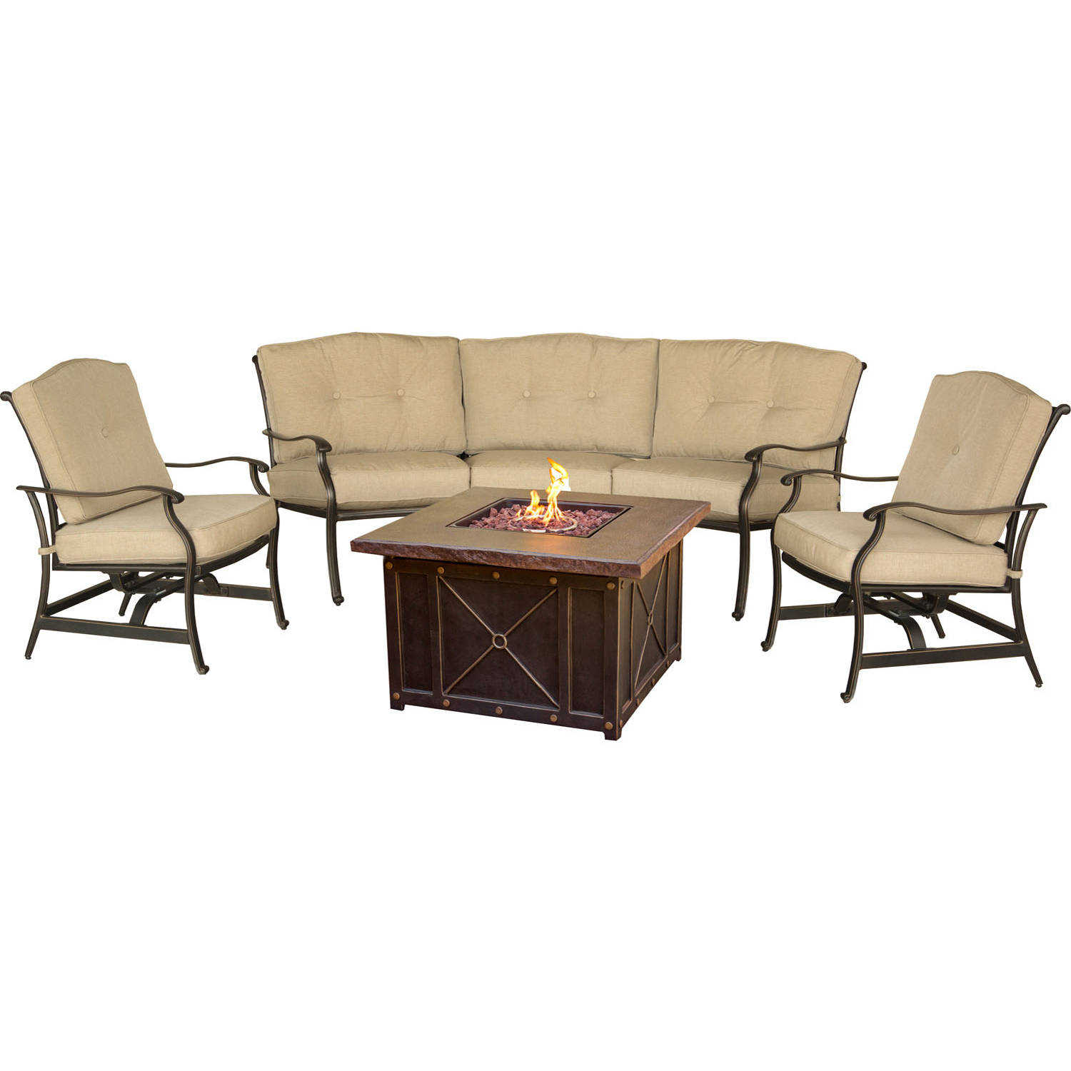 Hanover Outdoor Traditions 4-Piece DuraStone Firepit Lounge Set, Natural Oat Bronze by Hanover Outdoor
