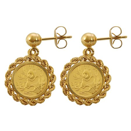 Chinese Panda Coin 14KT Coin Earrings - Chinese Coins Value