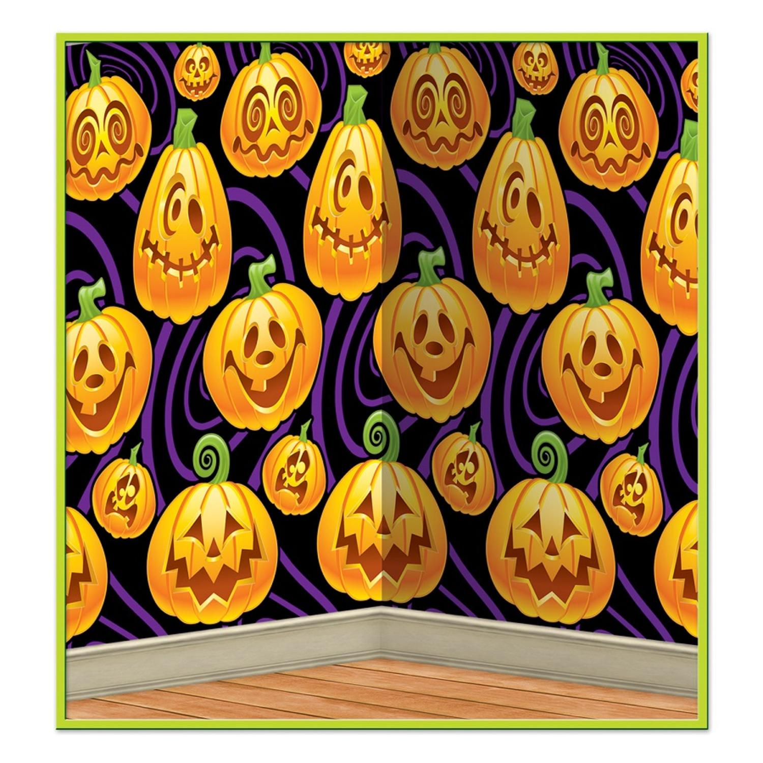 Pack of 6 Halloween Insta-Theme Assorted Jack-O-Lantern Wall Backdrop Party Decorations 4