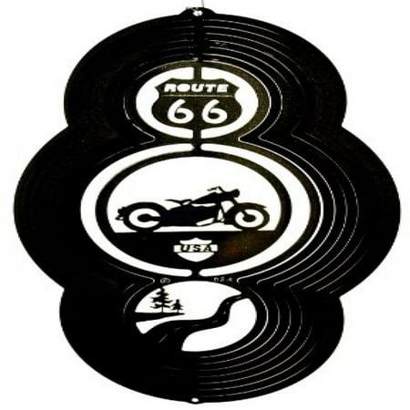 Stainless Steel Wind Spinner, Theme Motorcycle, Black