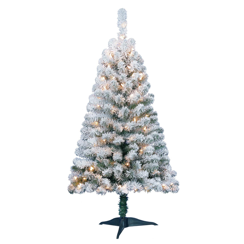 4 Flocked Green Artificial Christmas Pine Tree Pre Lit