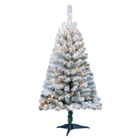 holiday time pre lit 4 greenfield flocked pine green artificial christmas tree clear - 4 Christmas Tree