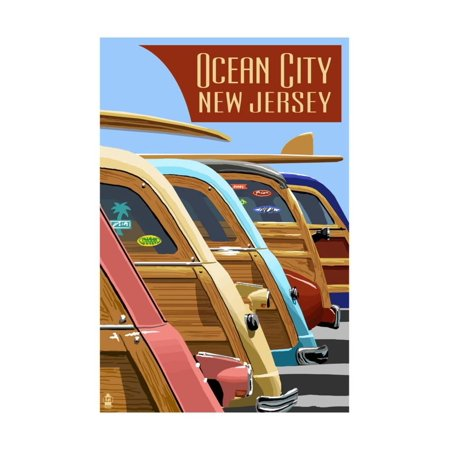 Party City On Line (Ocean City, New Jersey - Woodies Lined Up Print Wall Art By Lantern)