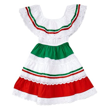 unik Girl's Traditional Mexican Cinco De Mayo Fiesta Dress Red Size - Cinco De Mayo Dress Up