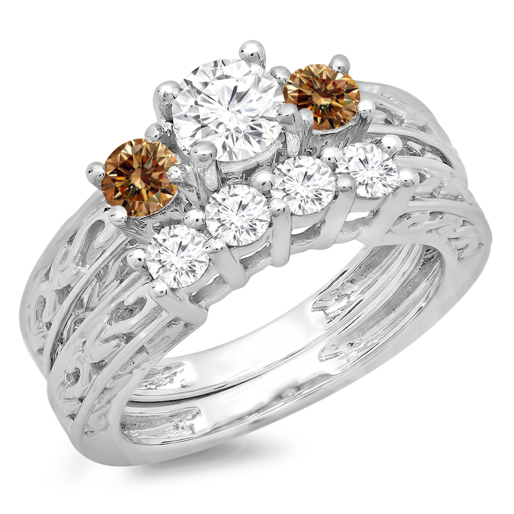 1.50 Carat (ctw) 18K White Gold Round Cut Champagne & White Diamond Ladies Vintage 3 Stone Bridal Engagement Ring With M
