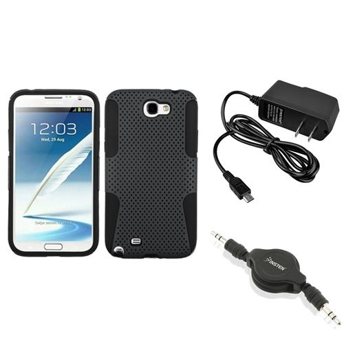 Insten Black/Grey Hybrid Case AC Wall Charger Audio Cable For Samsung Galaxy Note 2 II