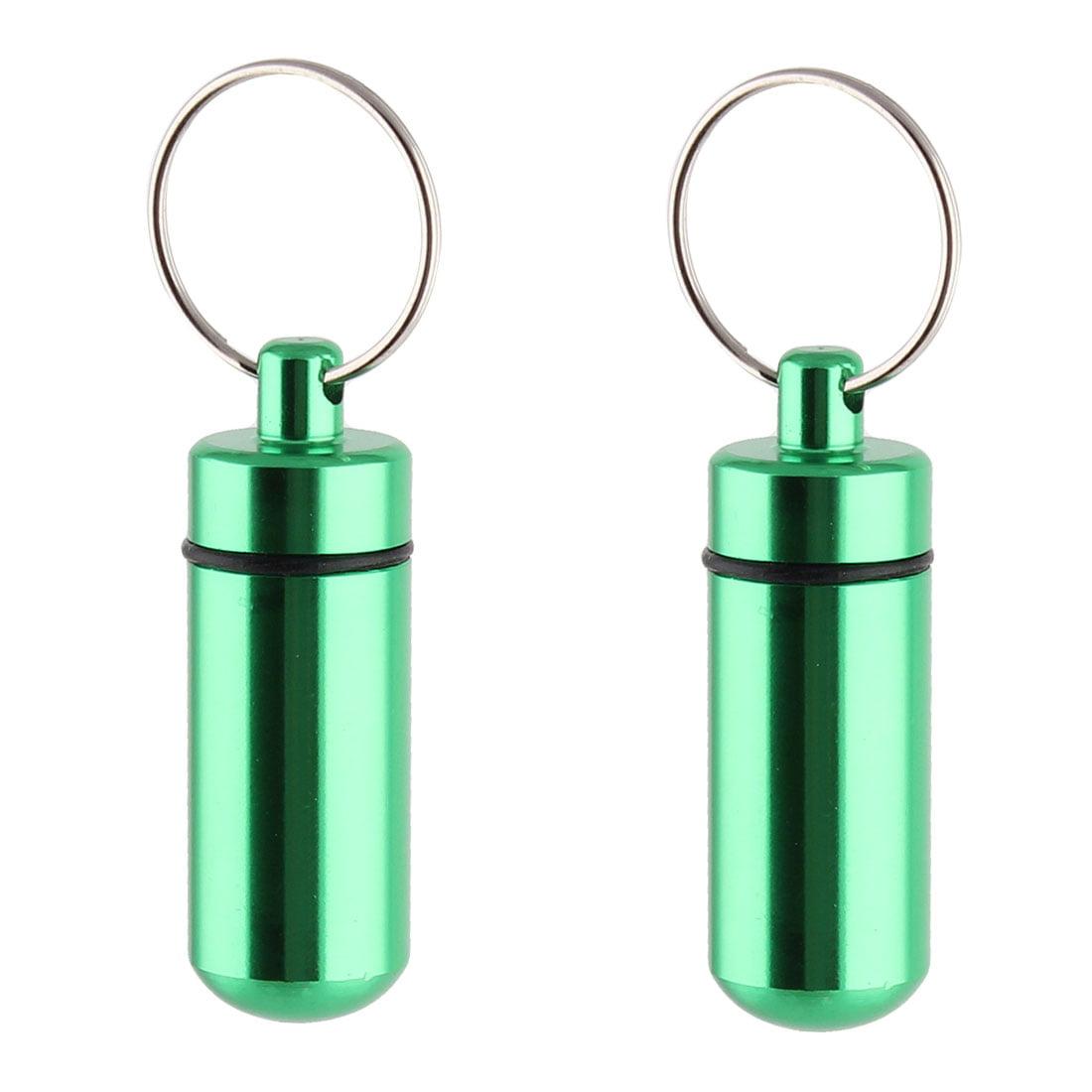 Aluminum Alloy Portable Pill Tablet Case Box Holder Keyring Keychain Green 2pcs