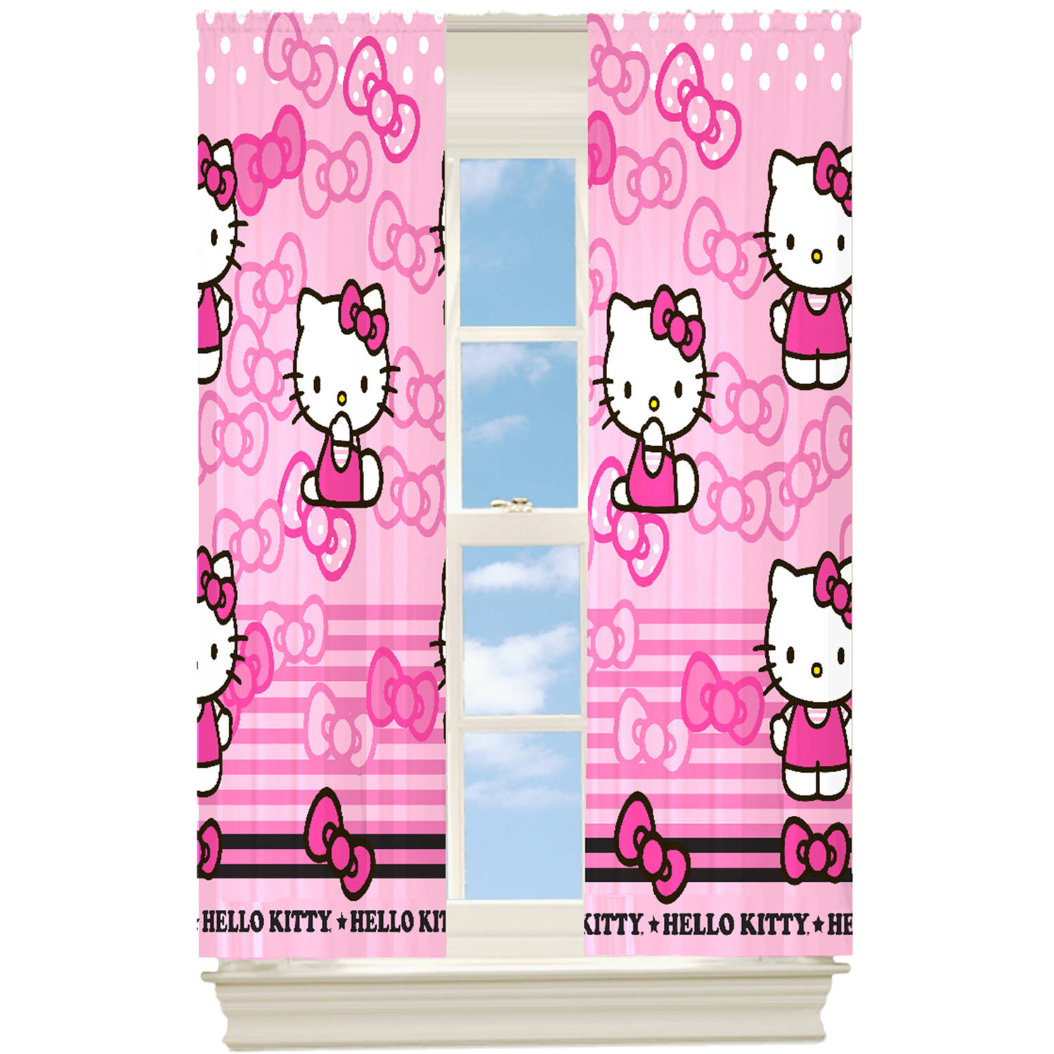 Hello Kitty Kitty Bow Girls Bedroom Room Darkening Curtain Panel 63 Length Walmart Com Walmart Com