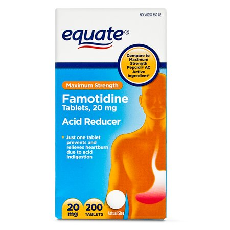 Equate Maximum Strength Acid Reducer Famotidine Tablets  20 Mg  200 Ct