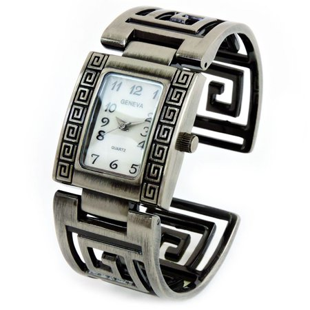 Pewter Brushed Finish Designer Style Fashion Women's Bangle Cuff Watch (Leather Cuff Bangle Fashion Watches)