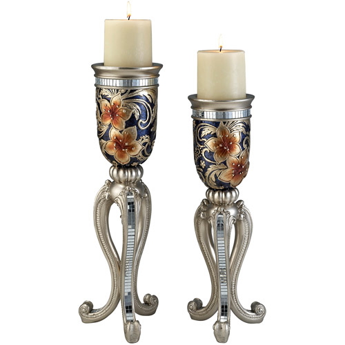 "Ore International Inc. 14/16"" Cherry Blossoms Collection Candle Holder Set"