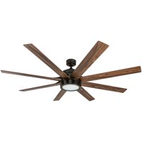 """Honeywell Xerxes 62"""" Oil Rubbed Bronze LED Remote Control Ceiling Fan, 8 Blade, Integrated Light"""