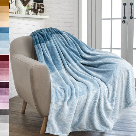 PAVILIA Flannel Fleece Luxury Throw Blanket | Lightweight Soft Microfiber Gradient Ombre Blanket | Decorative Velvet Throw for Couch Sofa Bed | All Season Use | 50 x 60 Inches
