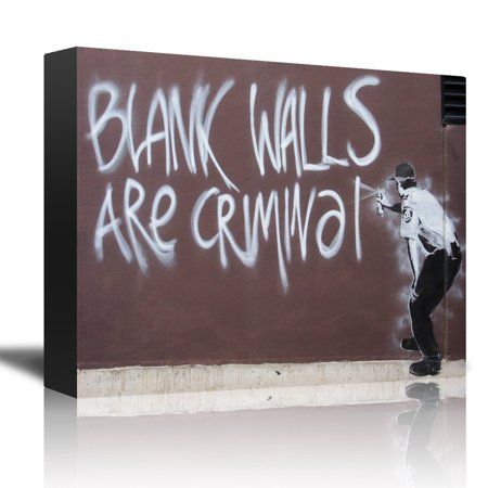 Canvas Spray - wall26 Blank Walls Are Criminal by Banksy - An Officer Spray Painting a Wall - Canvas Art Home Decor - 16x24 inches