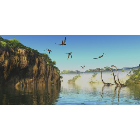 Omeisaurus dinosaurs wade through a river below a waterfall as Dimorphodon reptiles fly overhead Poster Print