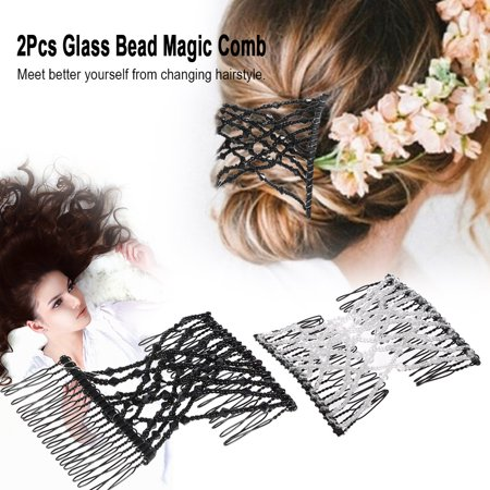 2Pcs Glass Bead Magic Comb Elastic Double Insert Clips Chic Stretch Hair Head Comb Cuff Random Colors DIY Hair Styling Tool