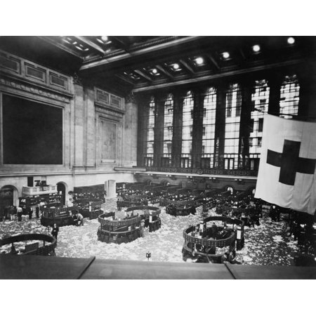Littered Floor Of New York Stock Exchange After A Day Trading Session In The Early 1920S (New York Stock Exchange After Hours Trading)