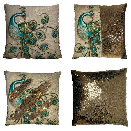 GCKG Beautiful Peacock Popular Peacock Feathers Reversible Mermaid Sequin Pillow Case Home Decor Cushion Cover 20x20 inches
