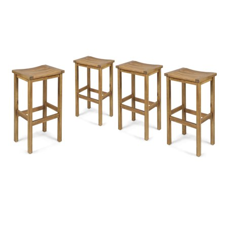 Cassie Outdoor 30 Inch Acacia Wood Barstools, Set of 4, Natural Finish 30 Inch Outdoor Freestanding Bar