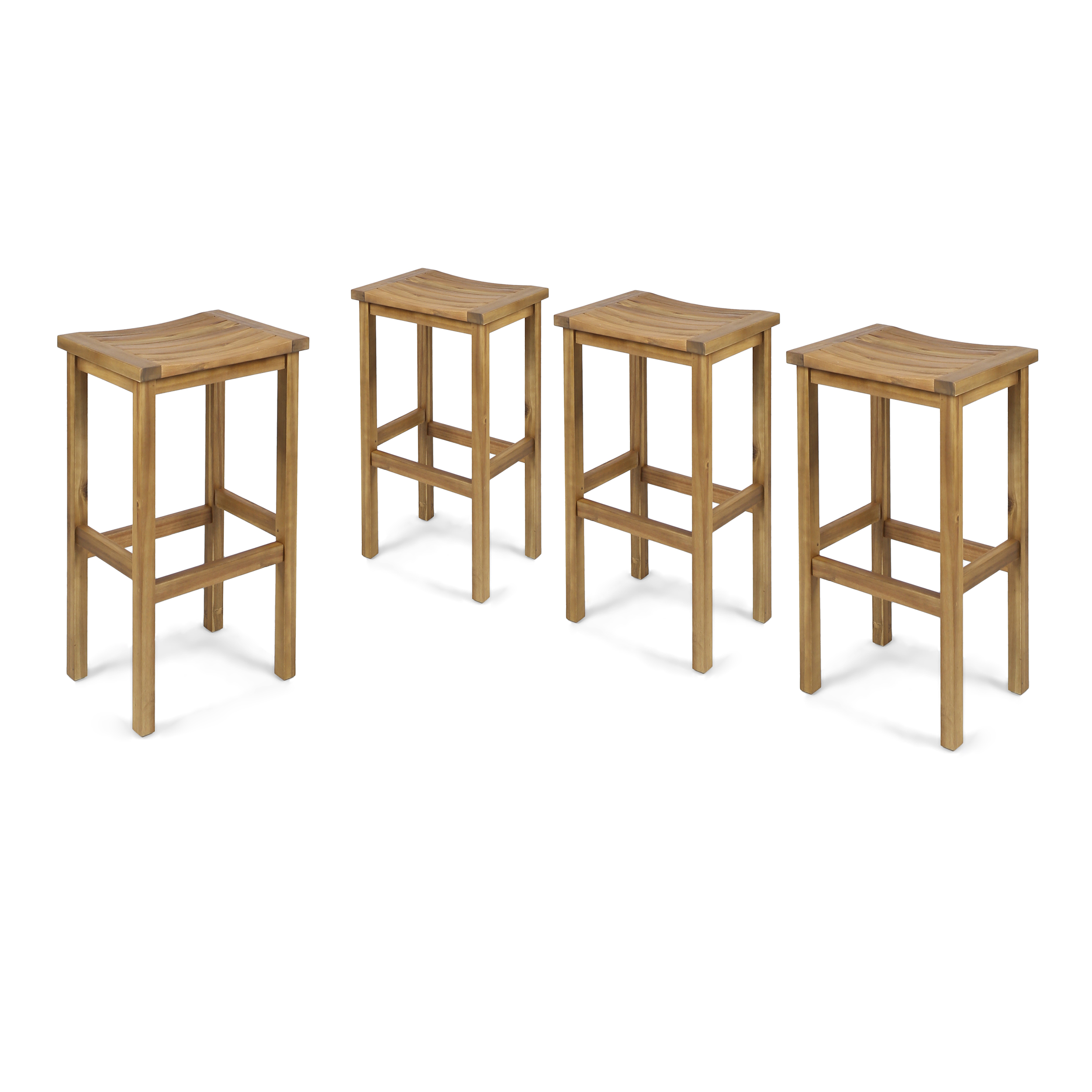 Cassie Outdoor 30 Inch Acacia Wood Barstools, Set of 4, Natural Finish