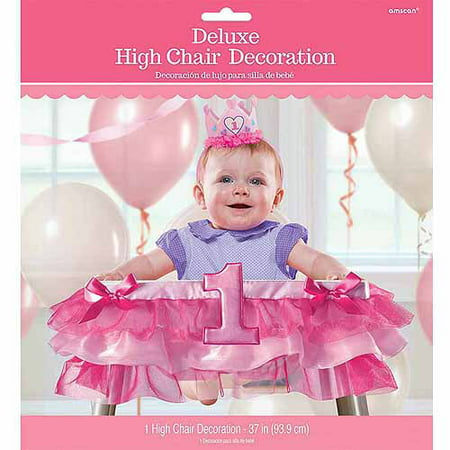 1st Birthday Deluxe High Chair Decoration, Girl](Girl 1st Birthday Decorations)