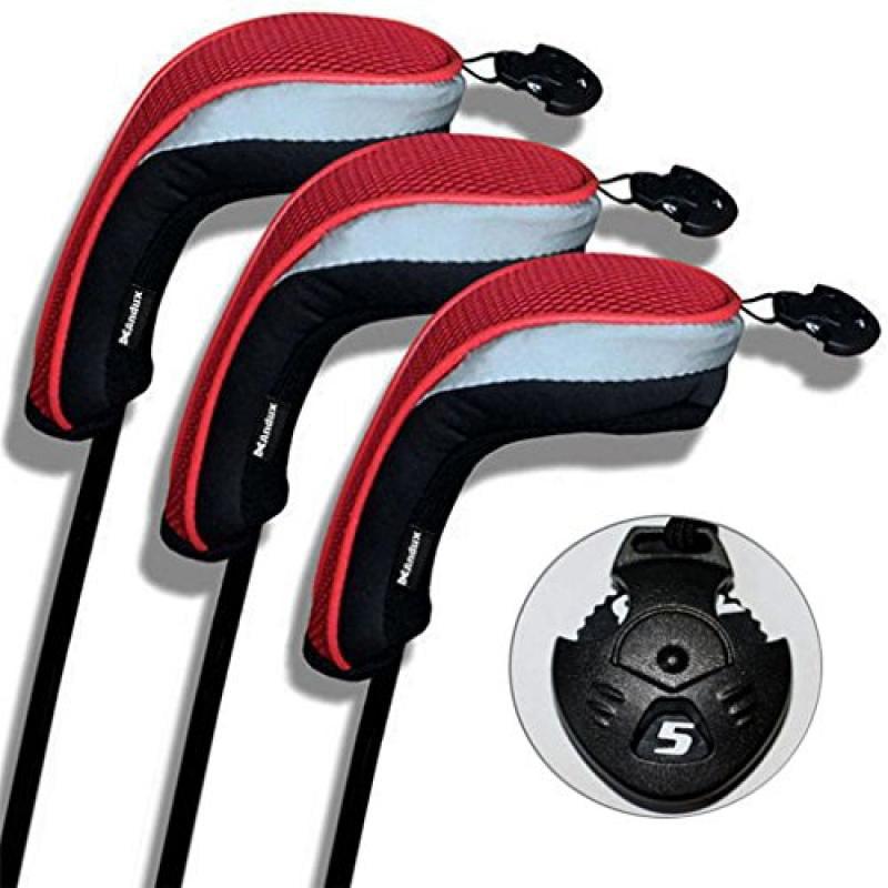 3 Pack Andux Golf Hybrid Club Head Covers Interchangeable...