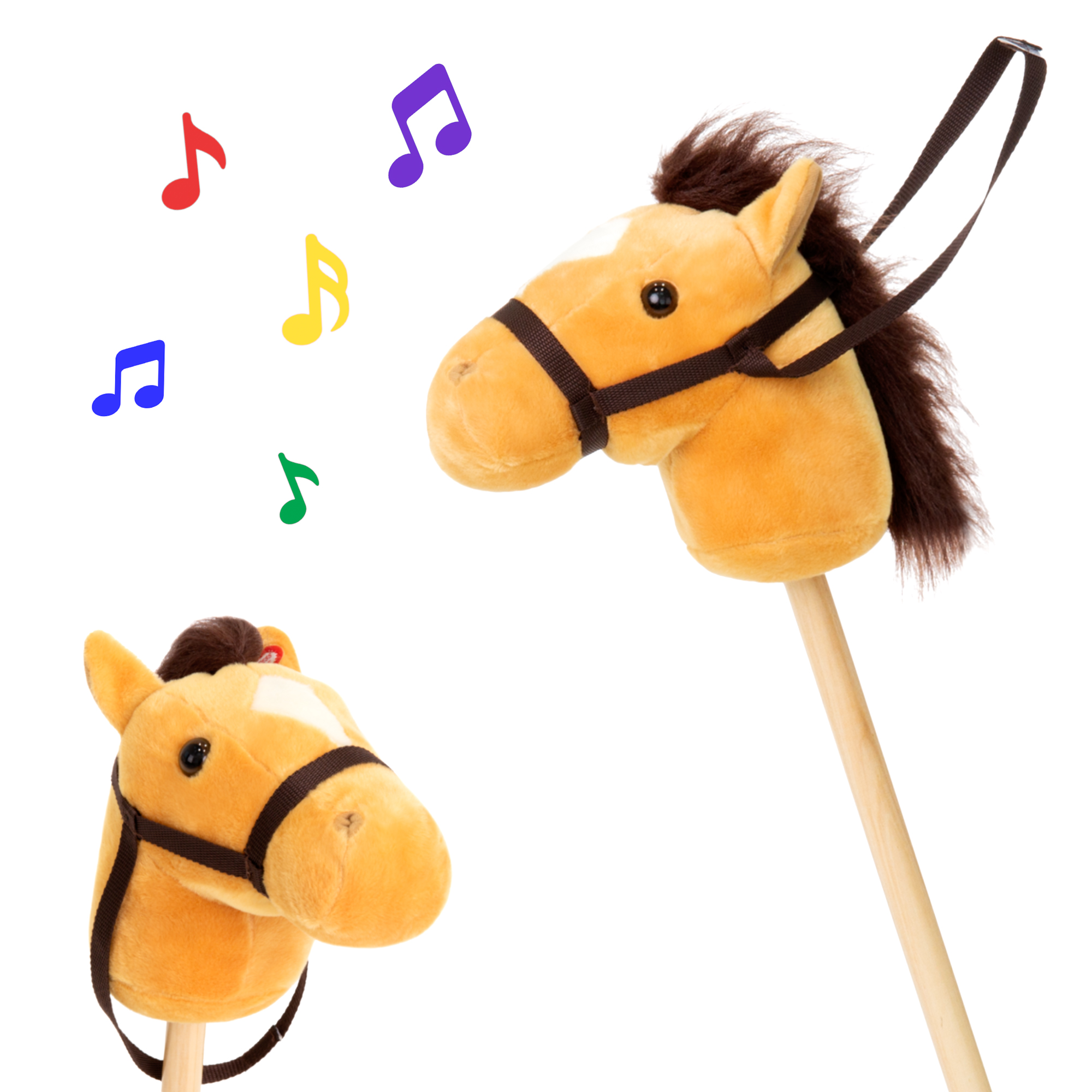 Best Choice Products 36in Kids Interactive Giddy-Up Stick Horse Stuffed Plush Animal Toy w/ 2 Different Sounds - Brown