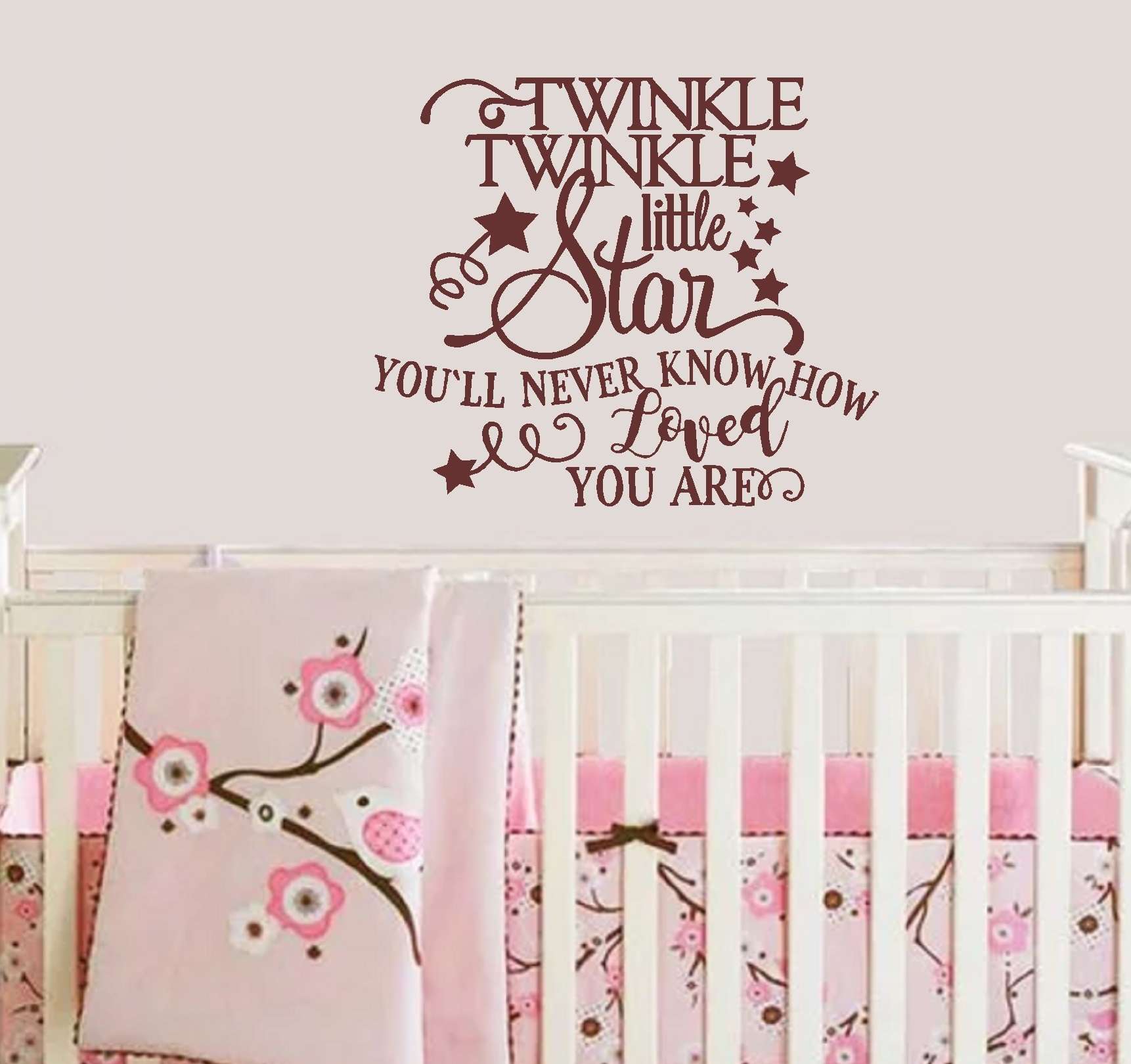 """Twinkle Twinkle Little Star You'll never know how loved you are ~ Nursery Wall Decal 17"""" x 20"""" (Black)"""