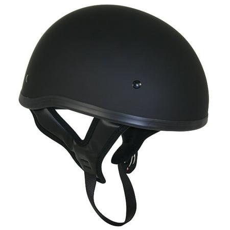 - Outlaw T68 DOT Flat Black Motorcycle Skull Cap Half Helmet