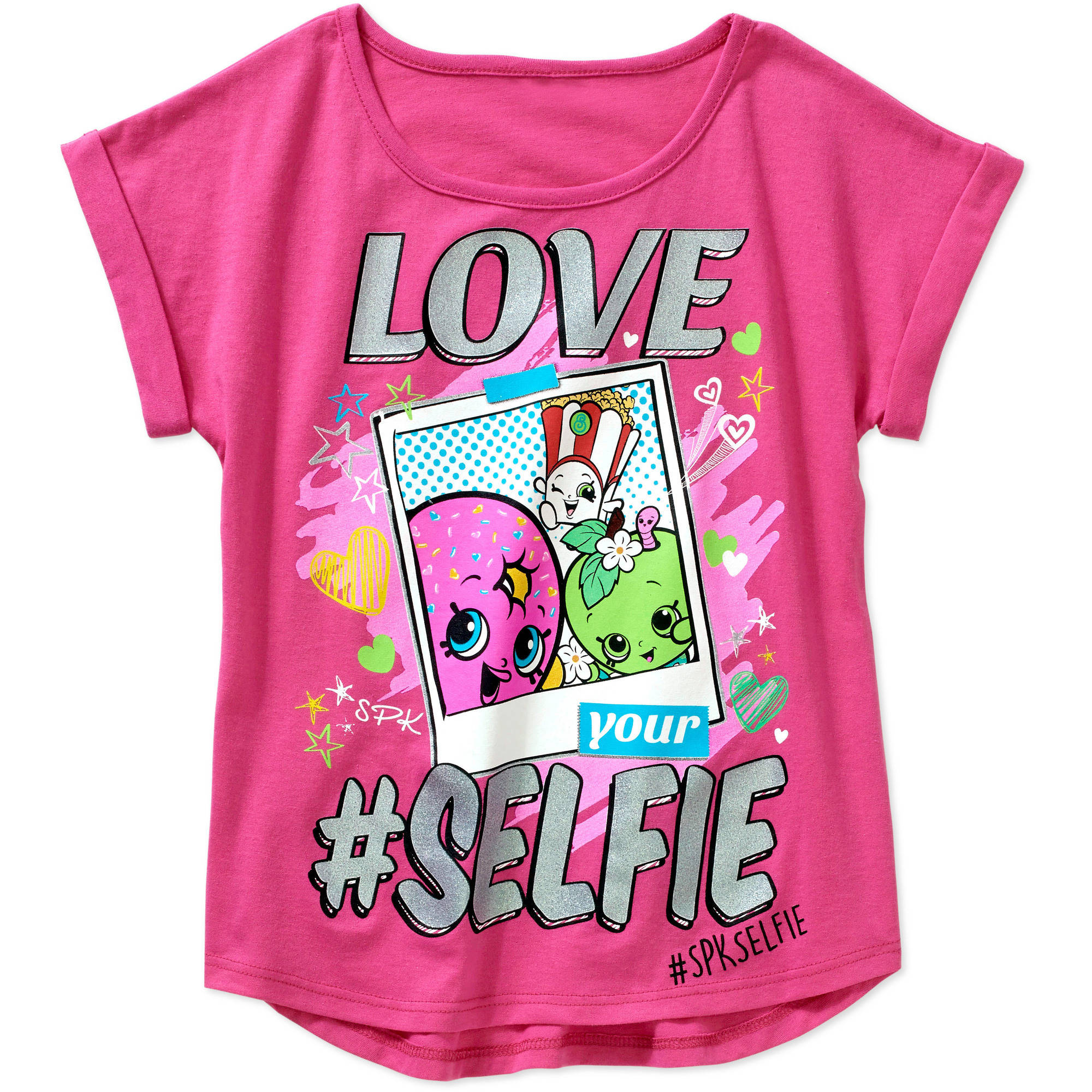 Shopkins Girls' Love Selfie Short Sleeve Crew Neck Graphic Tee