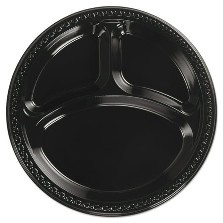Chinet Heavyweight Black Plastic 3-Compartment Dinner Plates, 10 1/4