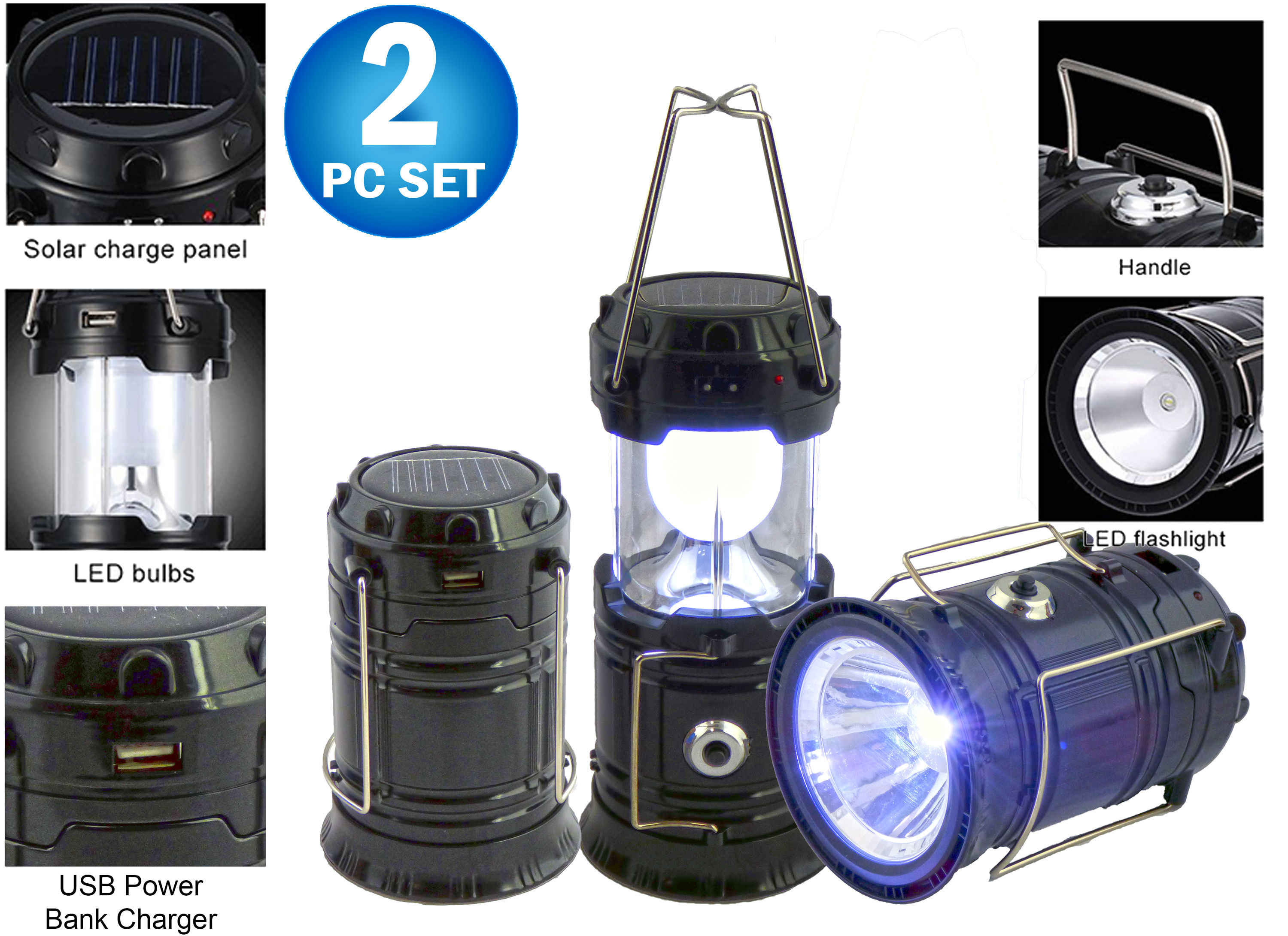 2pc Solar Rechargeable Tactical 3-in-1 Bright Collapsible LED Lantern, Flashlight, And USB Charging Station (Black) by
