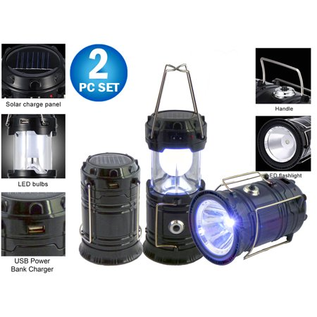 Columbia 1 Light - 2pc Solar Rechargeable Tactical 3-in-1 Bright Collapsible LED Lantern, Flashlight, And USB Charging Station (Black)