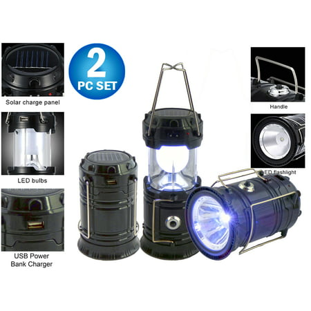 2pc Solar Rechargeable Tactical 3-in-1 Bright Collapsible LED Lantern, Flashlight, And USB Charging Station