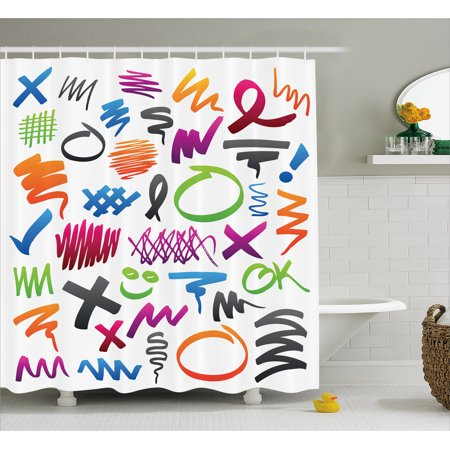 Shower Pencils - Doodle Shower Curtain, Pencil Drawings with Vibrant Colors Lines Marker Strokes Circles and Other Shapes, Fabric Bathroom Set with Hooks, 69W X 70L Inches, Multicolor, by Ambesonne