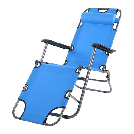 Portable Folding Camping Lounge Beach Garden Patio Recliner Reclining Chair With Armrest Pool Yard Lawn