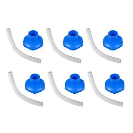 Image of Intex 25016 Above Ground Pool Skimmer Hose & Adapter B Replacement Set (6 Pack)