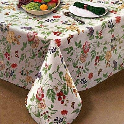 Enchanted Garden Flannel Backed Vinyl Tablecloth Indoor Outdoor 60
