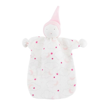 Under the Nile Sleeping Doll Lovey - Starry Night - Pink Starry Night Print Zebra Print Baby Doll