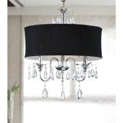 The Lighting Store Chrome 3-light Black Shade Crystal Chandelier