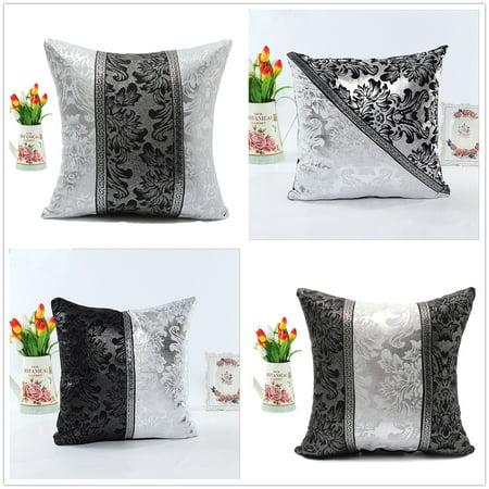 Imitation Leather Thick Black White Splice Throw Pillow Case Cushion Cover Sofa Home Decor 18
