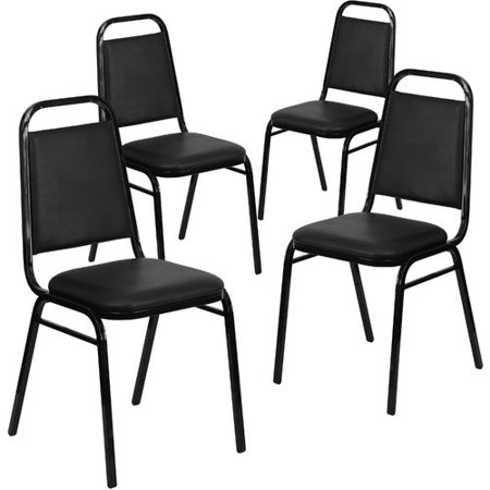 Vinyl Stacking Chair - Flash Furniture 4-Pack HERCULES Series Trapezoidal Back Stacking Banquet Chair with Vinyl and 1.5
