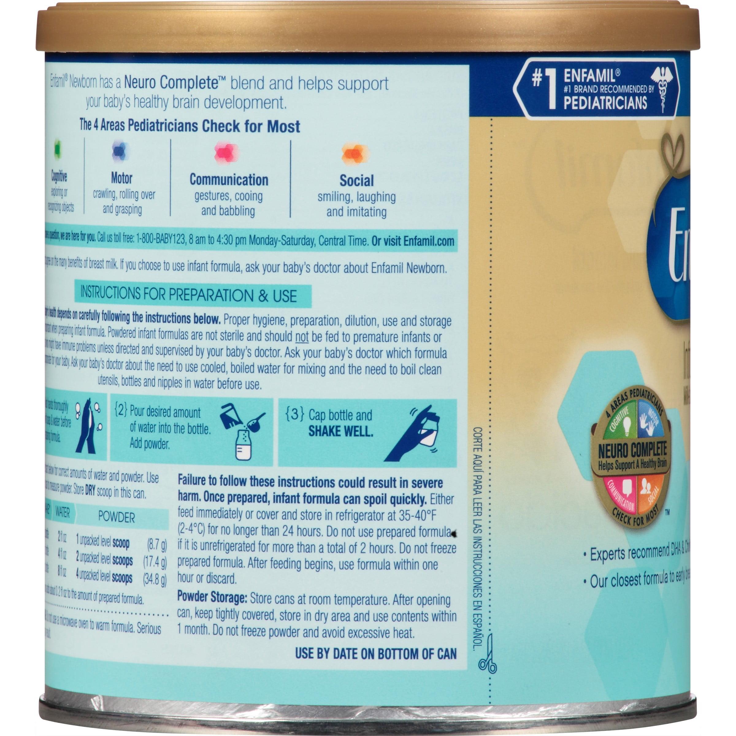 Enfamil Newborn Infant Formula Powder 125 Ounce Can Walmart