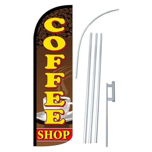 Neoplex Coffee Shop Swooper Flag and Flagpole Set