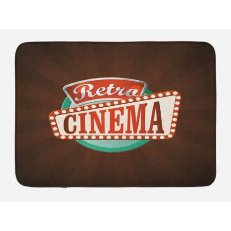 Movie Theater Bath Mat, Retro Style Cinema Sign Design Film Festival Hollywood Theme, Non-Slip Plush Mat Bathroom Kitchen Laundry Room Decor, 29.5 X 17.5 Inches, Brown Turquoise Vermilion, Ambesonne